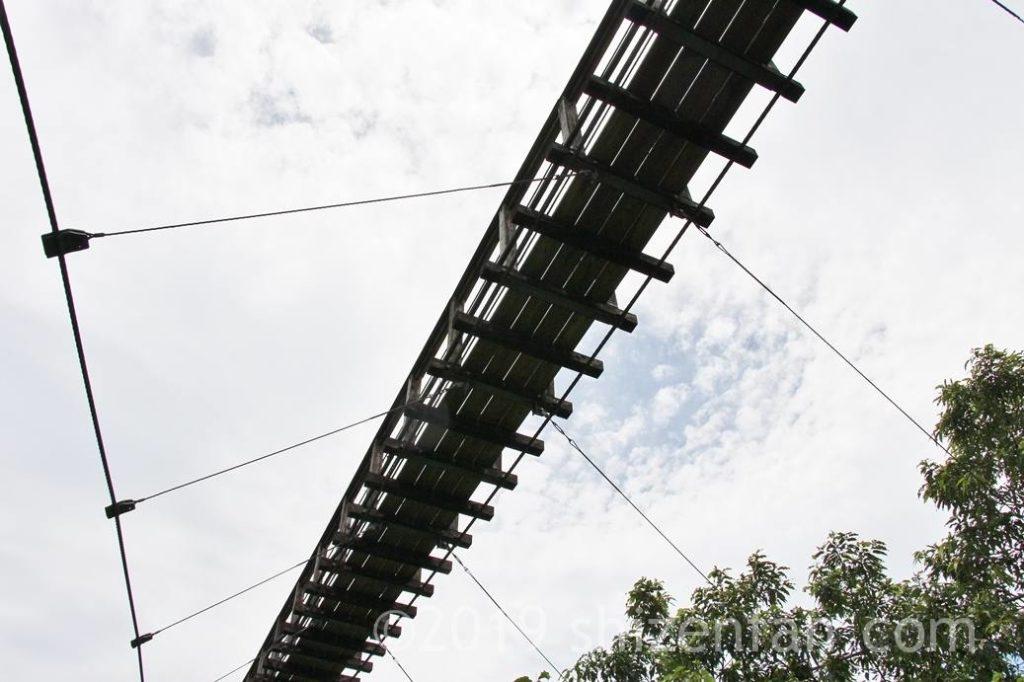 下から見た原尻の滝の吊橋