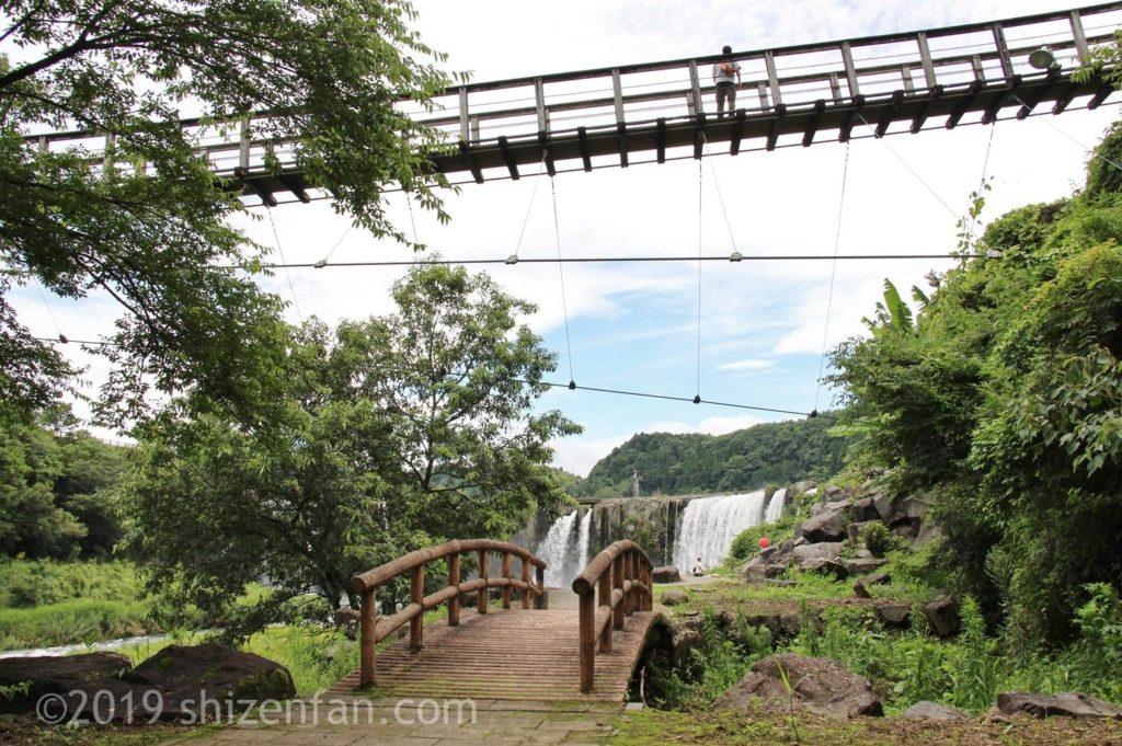下の遊歩道から見た原尻の滝と吊橋