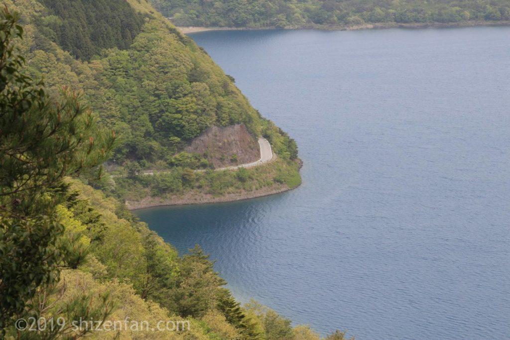中ノ倉展望台からの景色、下の道路のクローズアップ
