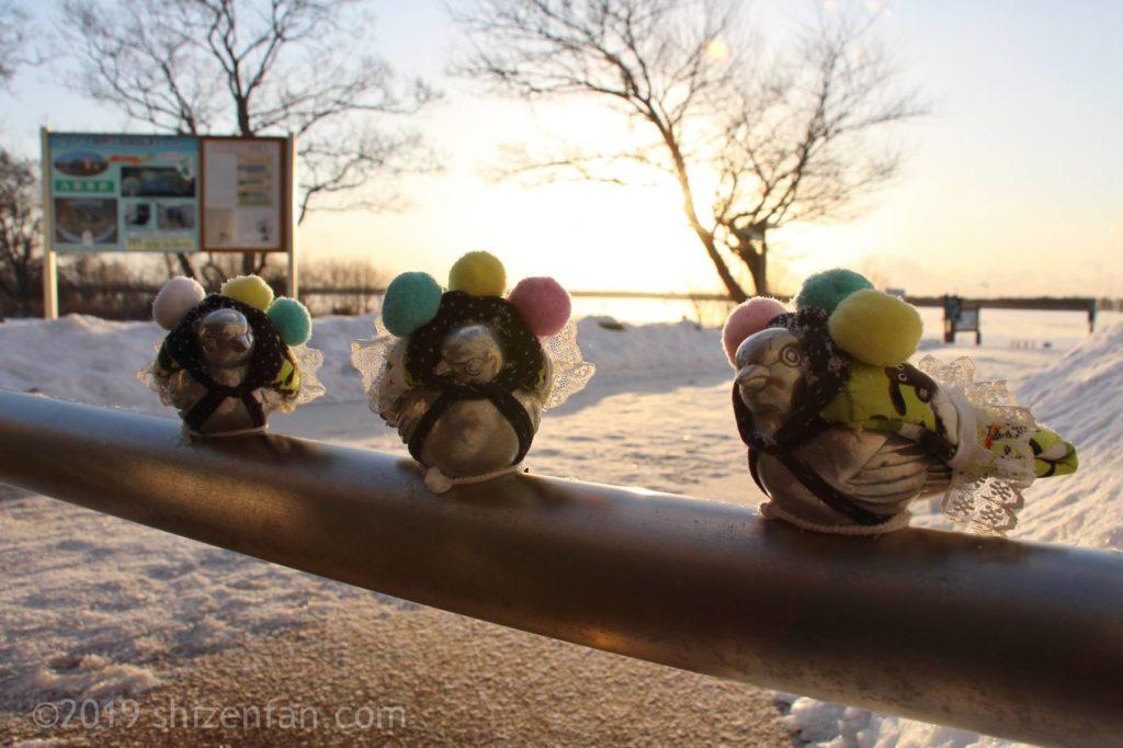 冬の道の駅ウトナイ湖、服を着せられた車止めの小鳥たち
