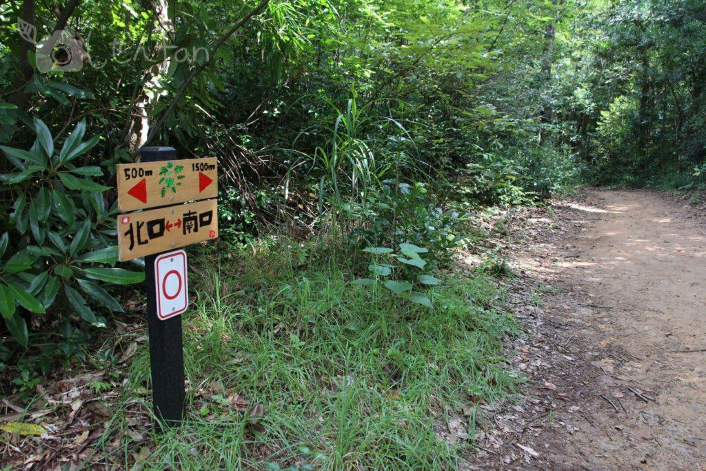 篠栗九大の森、水辺の森までの遊歩道と距離案内看板