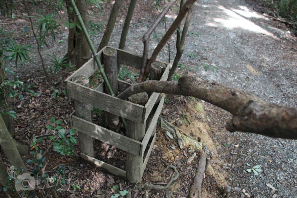 篠栗九大の森にある杖入れの木箱