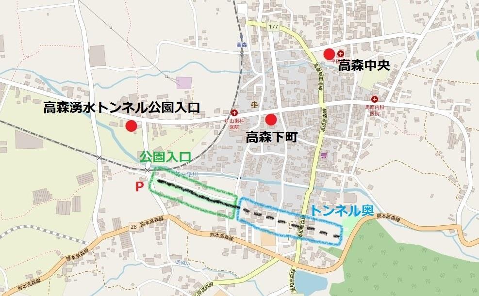 高森湧水トンネル公園の構造図解と周辺のバス停マップ