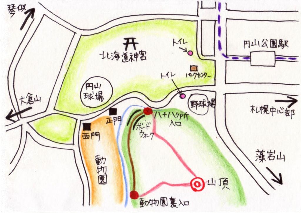 円山公園手書きマップ