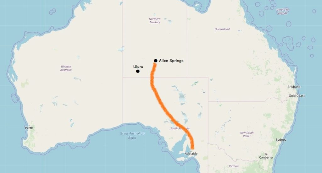 アデレード・アリススプリングス位置関係マップ