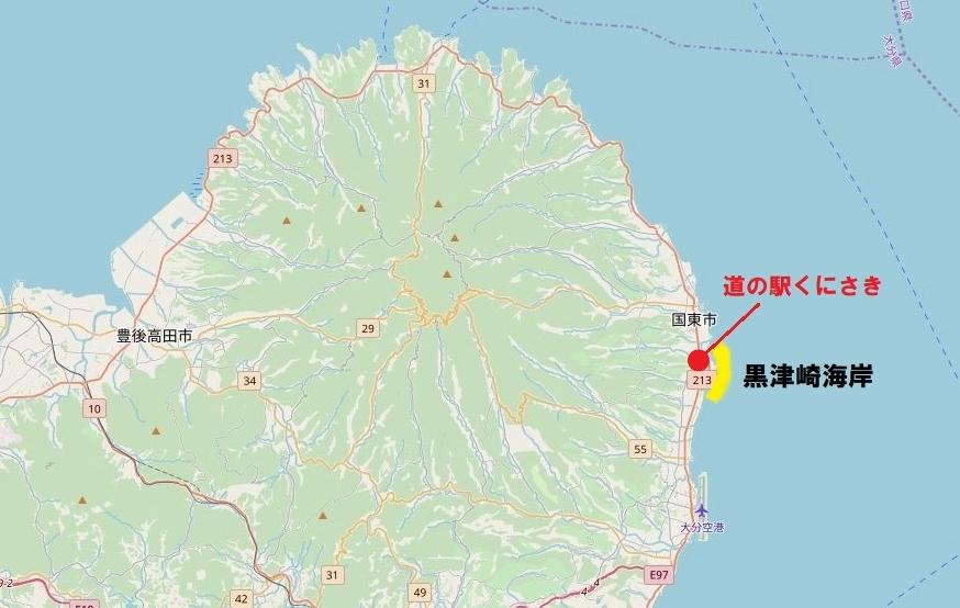 国東半島・黒津崎海岸の位置