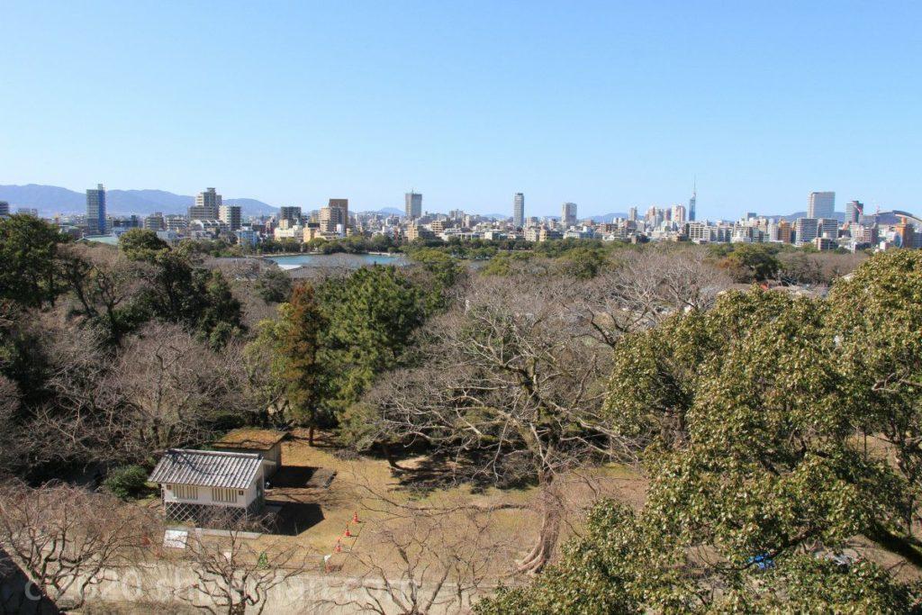 福岡城址天守台からの眺め(北西方面)
