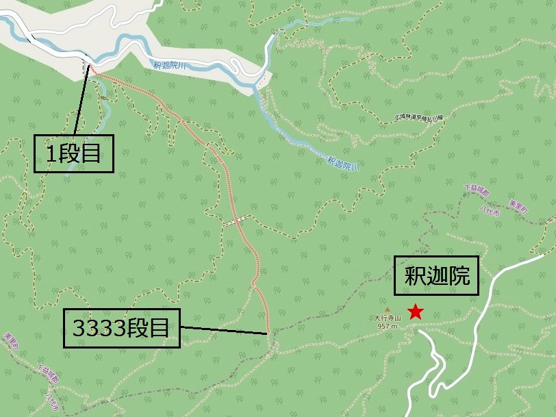 日本一の石段(釈迦院御坂遊歩道)と釈迦院の位置関係