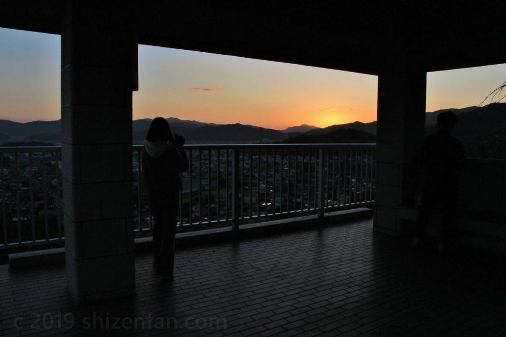 日没時の千葉公園展望台(佐賀県小城市)