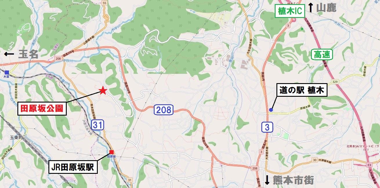 熊本市北区植木・田原坂公園の所在地©OpenStreetMap contributors