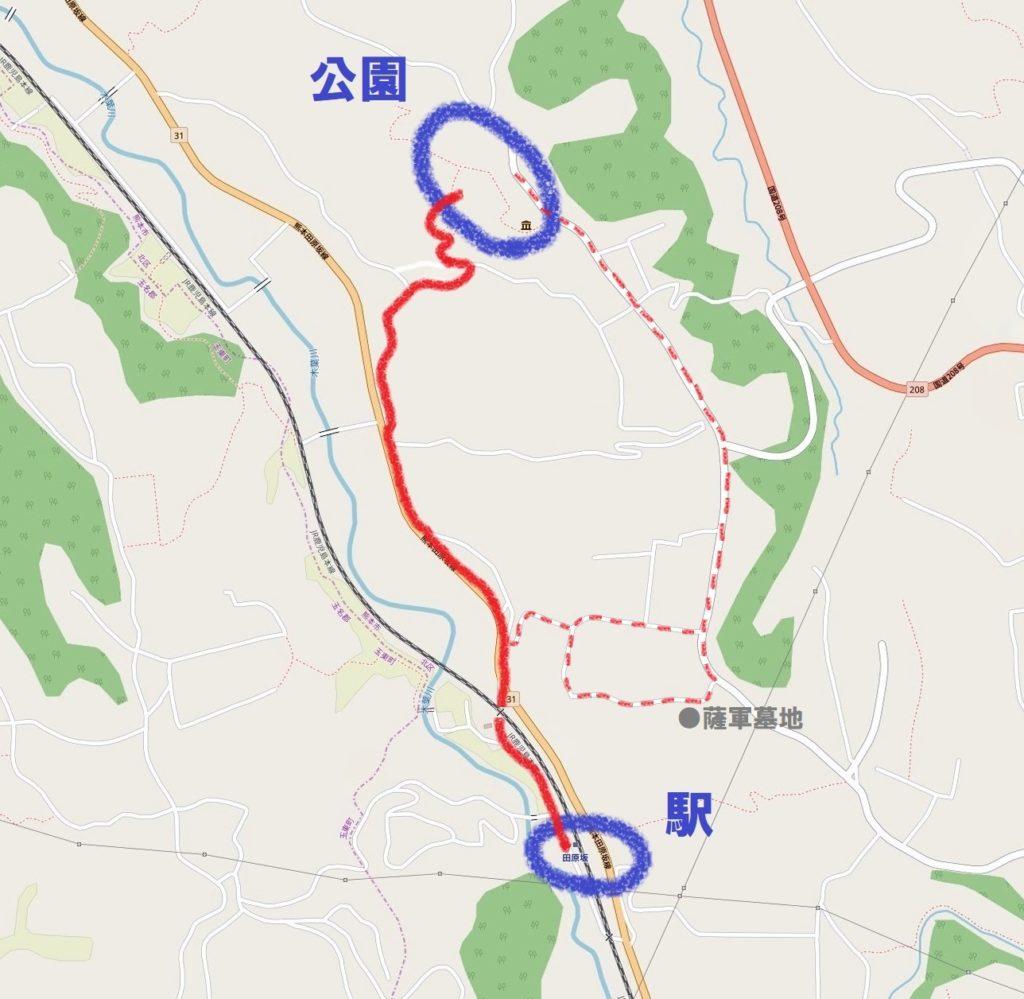 田原坂駅から田原坂公園までの道案内図