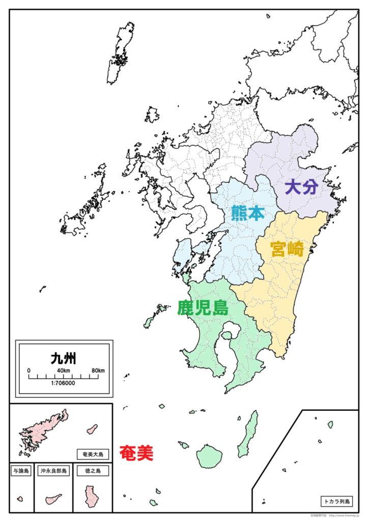 中南部九州のナンバープレート地域区分図