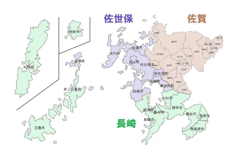 佐賀県・長崎県のナンバー地域区分図