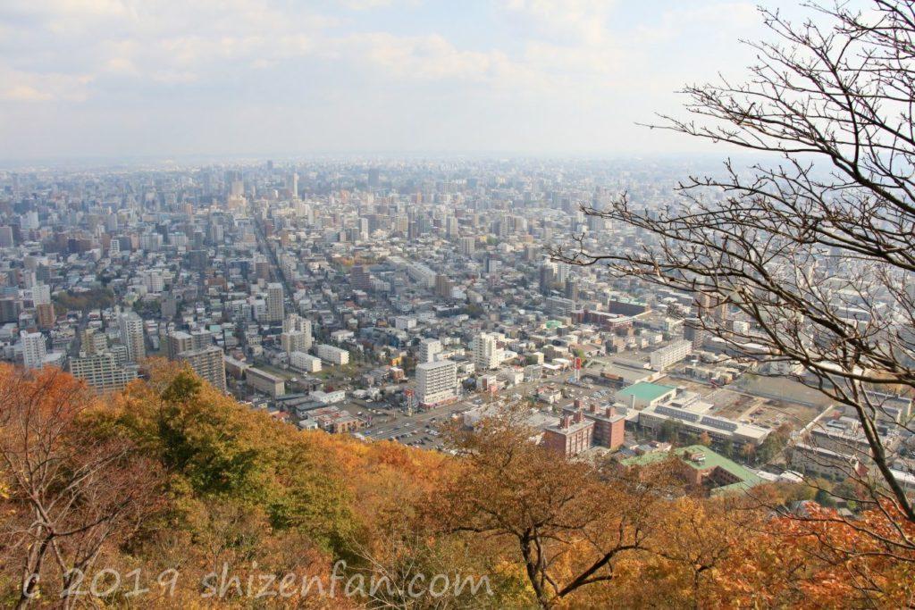 秋の札幌円山頂上から見る札幌の街