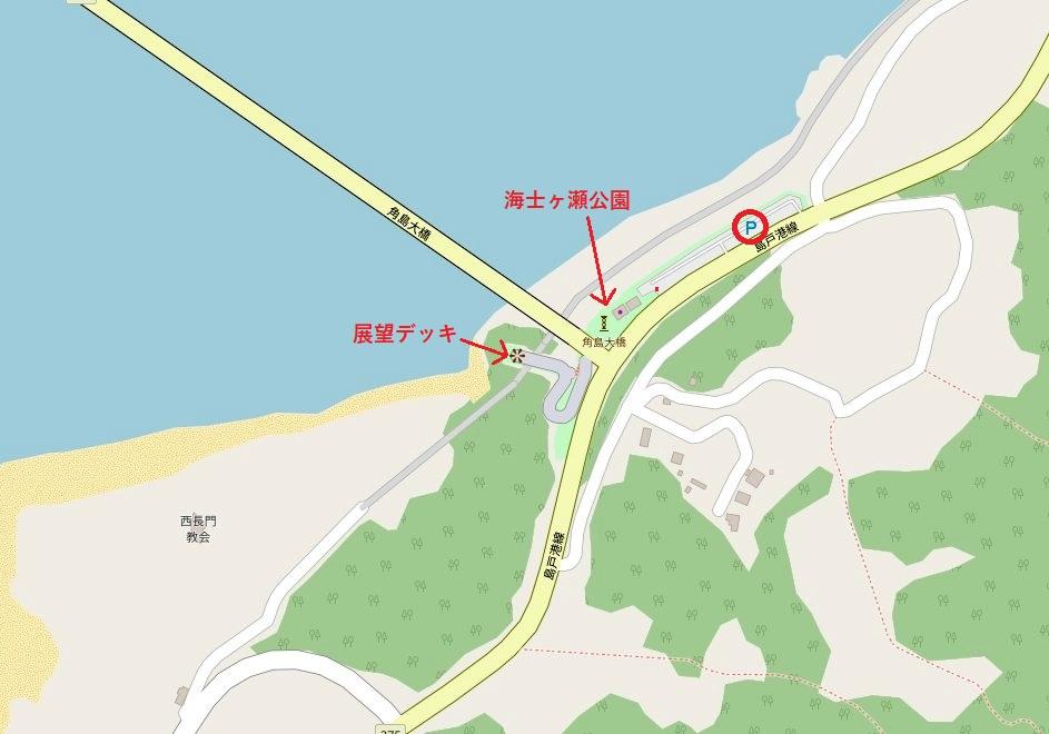 角島大橋・海士ヶ瀬公園付近のマップ