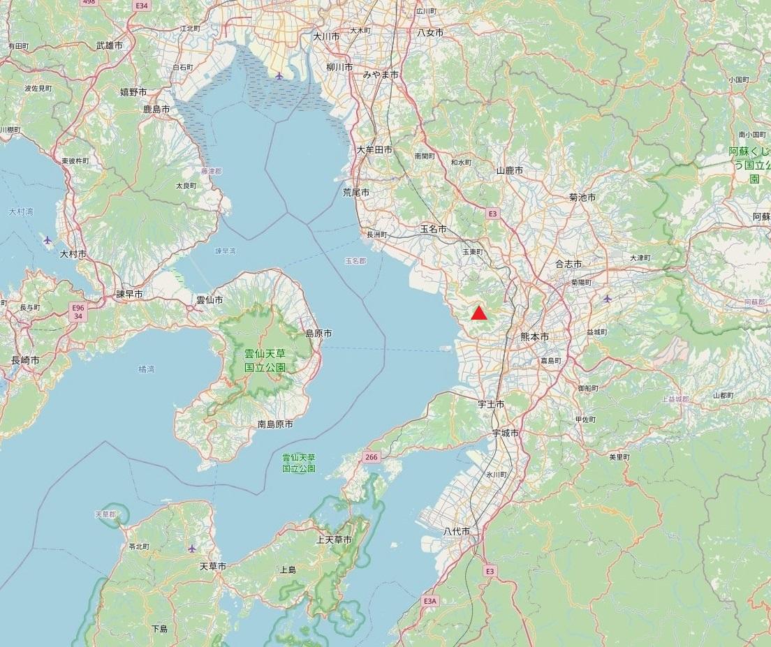 熊本・金峰山の位置(広域図)