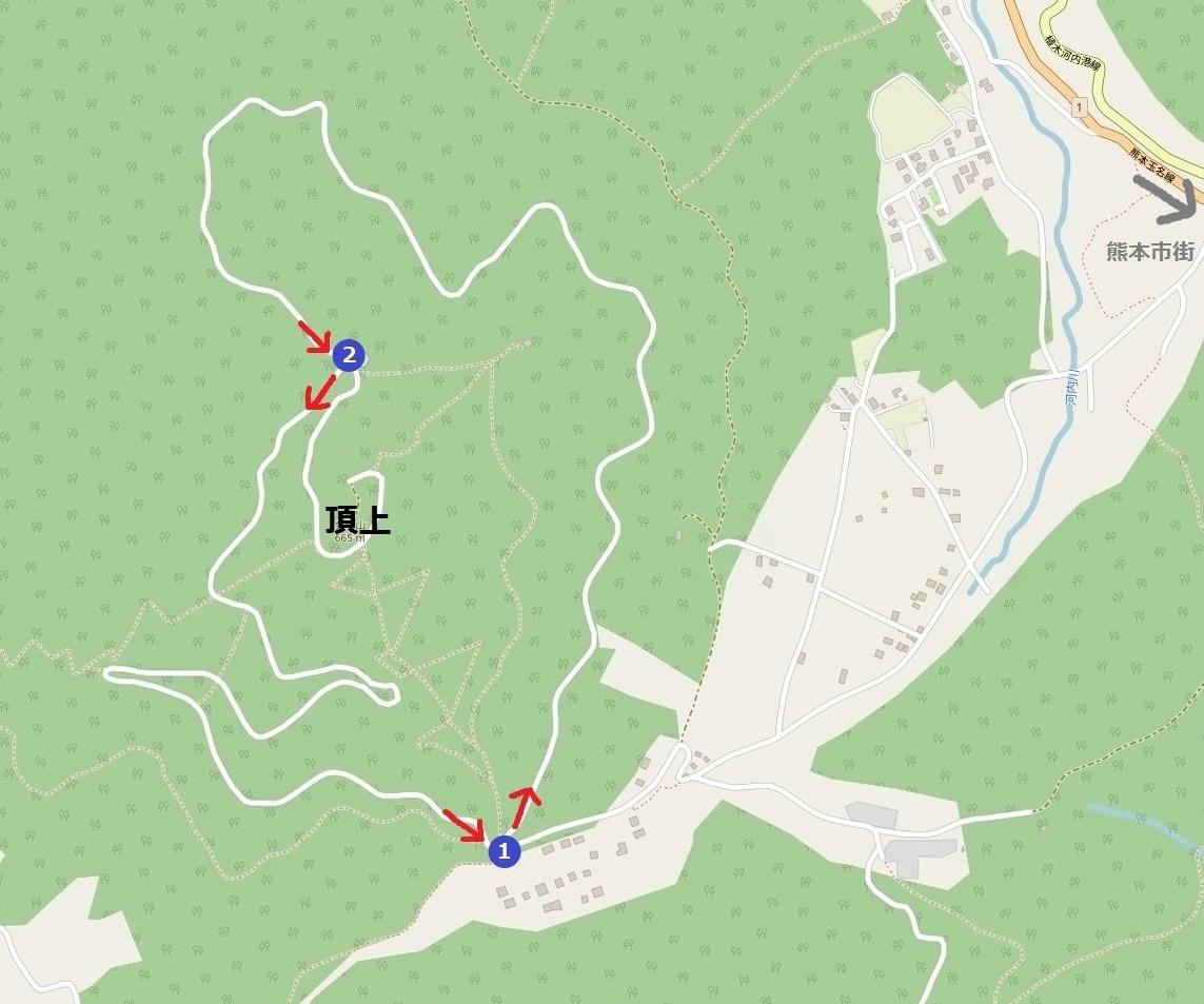 熊本・金峰山の周遊道路図解