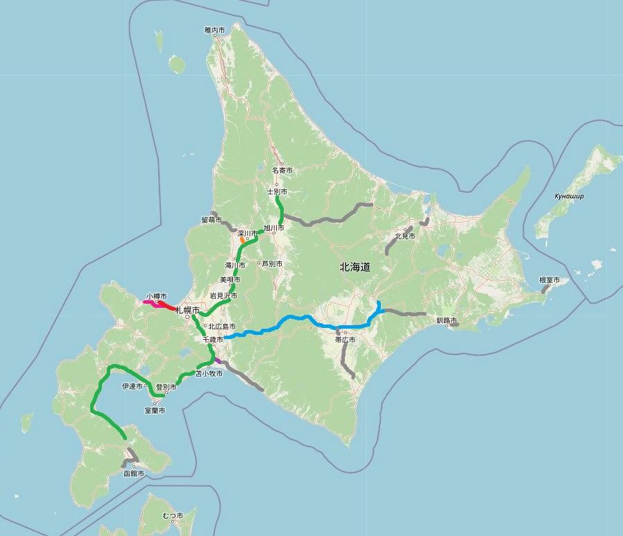 北海道の高速道路マップ