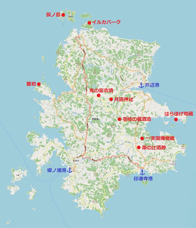 壱岐・主要観光地マップ