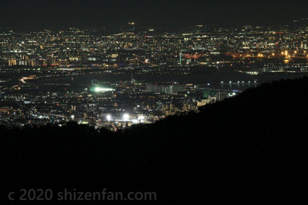 芦有ドライブウェイ・東六甲展望台からの夜景(甲子園方面)