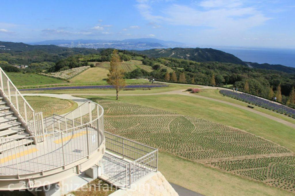 あわじ花さじきの丘の風景 背景に六甲山と神戸