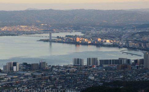 比叡山ドライブウェイ・夢見が丘展望台から望む大津