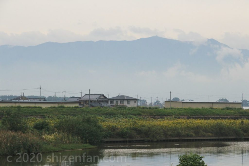 川沿いの家々の背景にそびえる山影(蓬莱山)