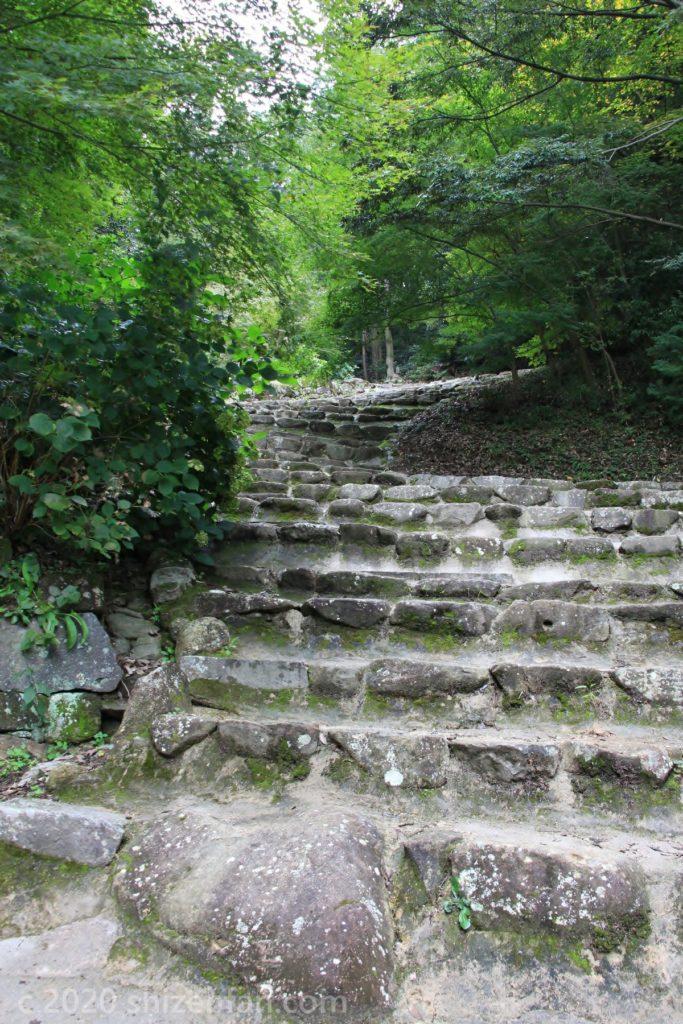 緑に包まれた安土城跡の石段