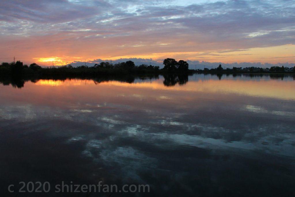 夕暮れ時の空を映す曽根沼