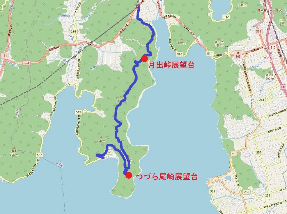 奥琵琶湖パークウェイのルート解説図
