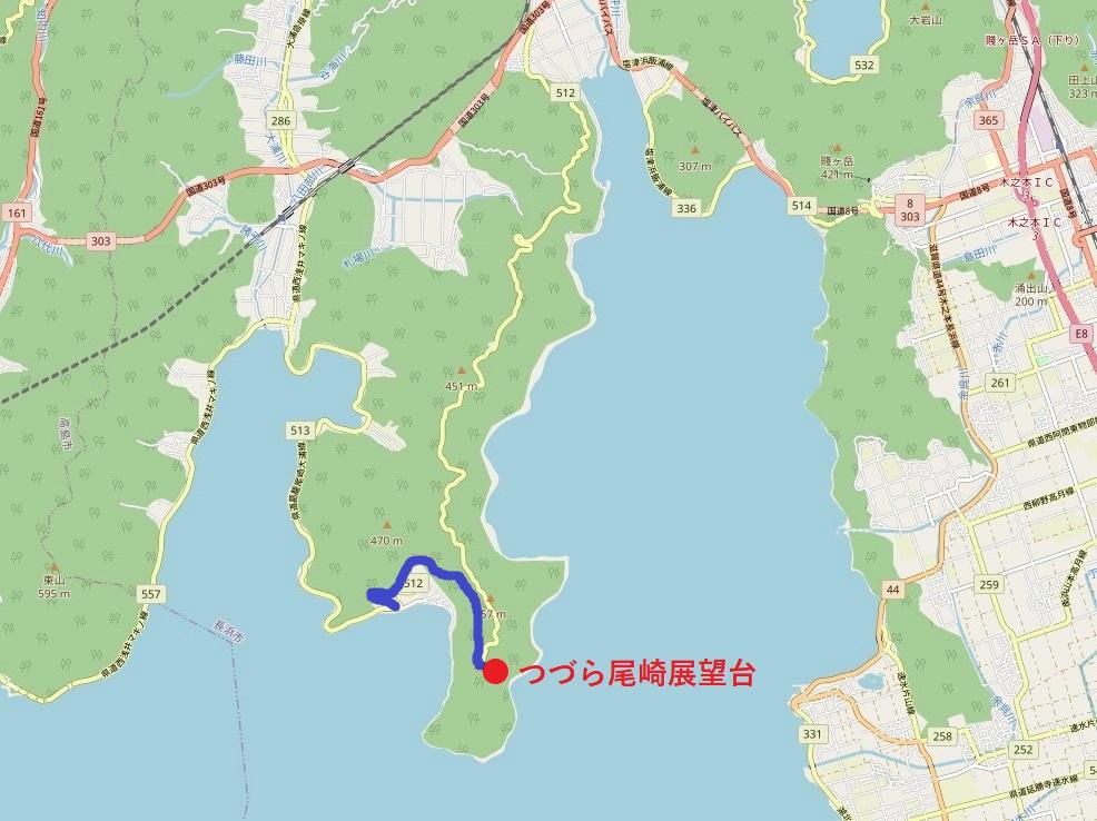 奥琵琶湖パークウェイのルート解説図(月出通行止め以後)