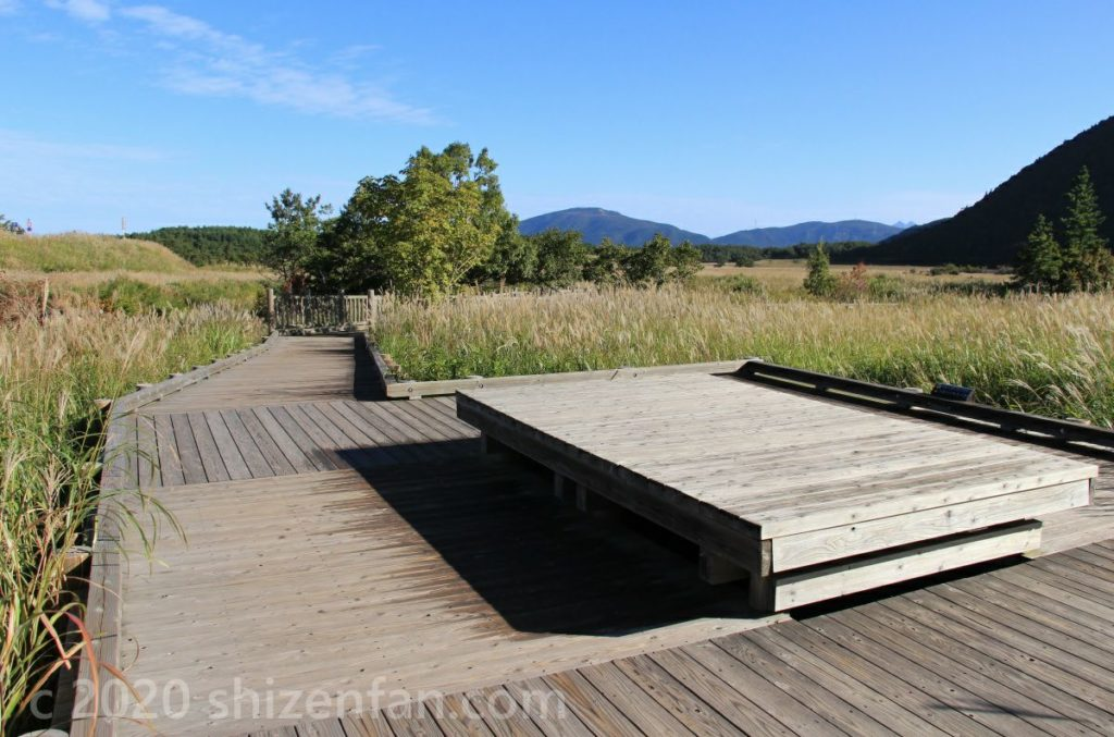 くじゅう・タデ原湿原の木道の休憩ポイント