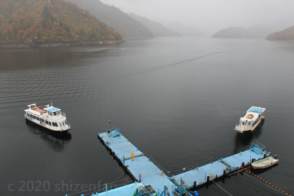 遊覧船乗り場2階展望台から見渡す奥只見湖と船着き場