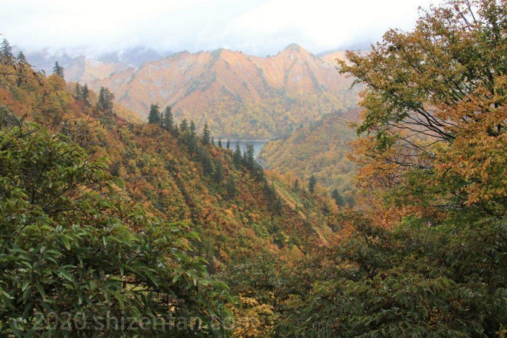 オレンジ色に紅葉する山々(奥只見)