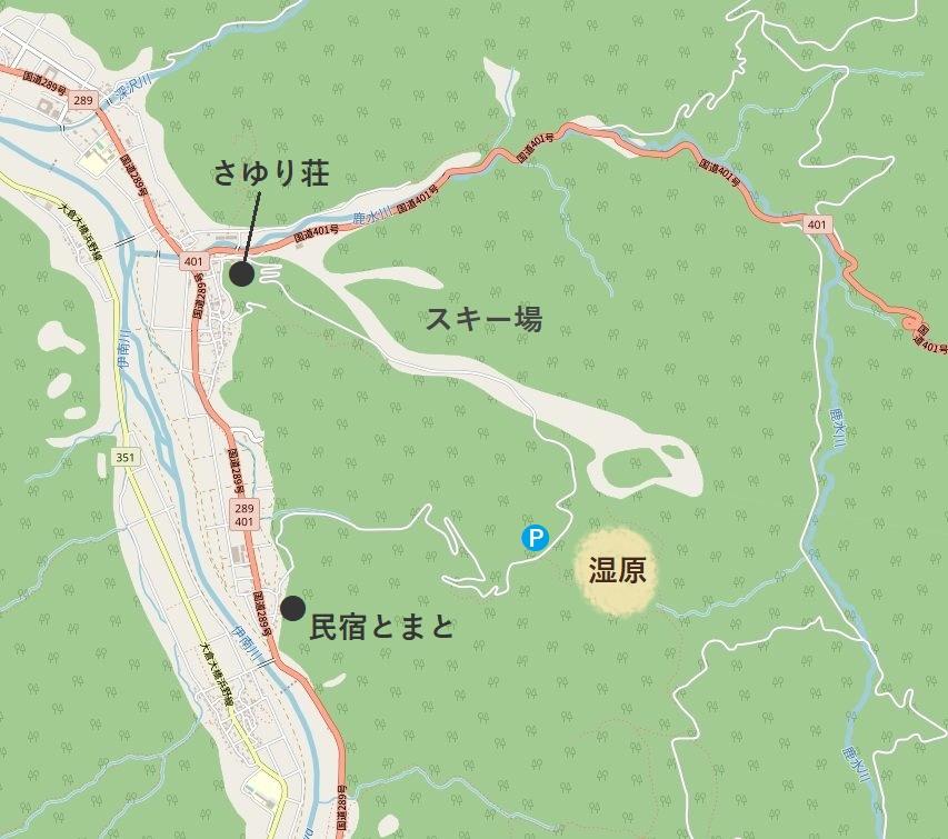 宮床湿原周辺マップ©OpenStreetMap contributors