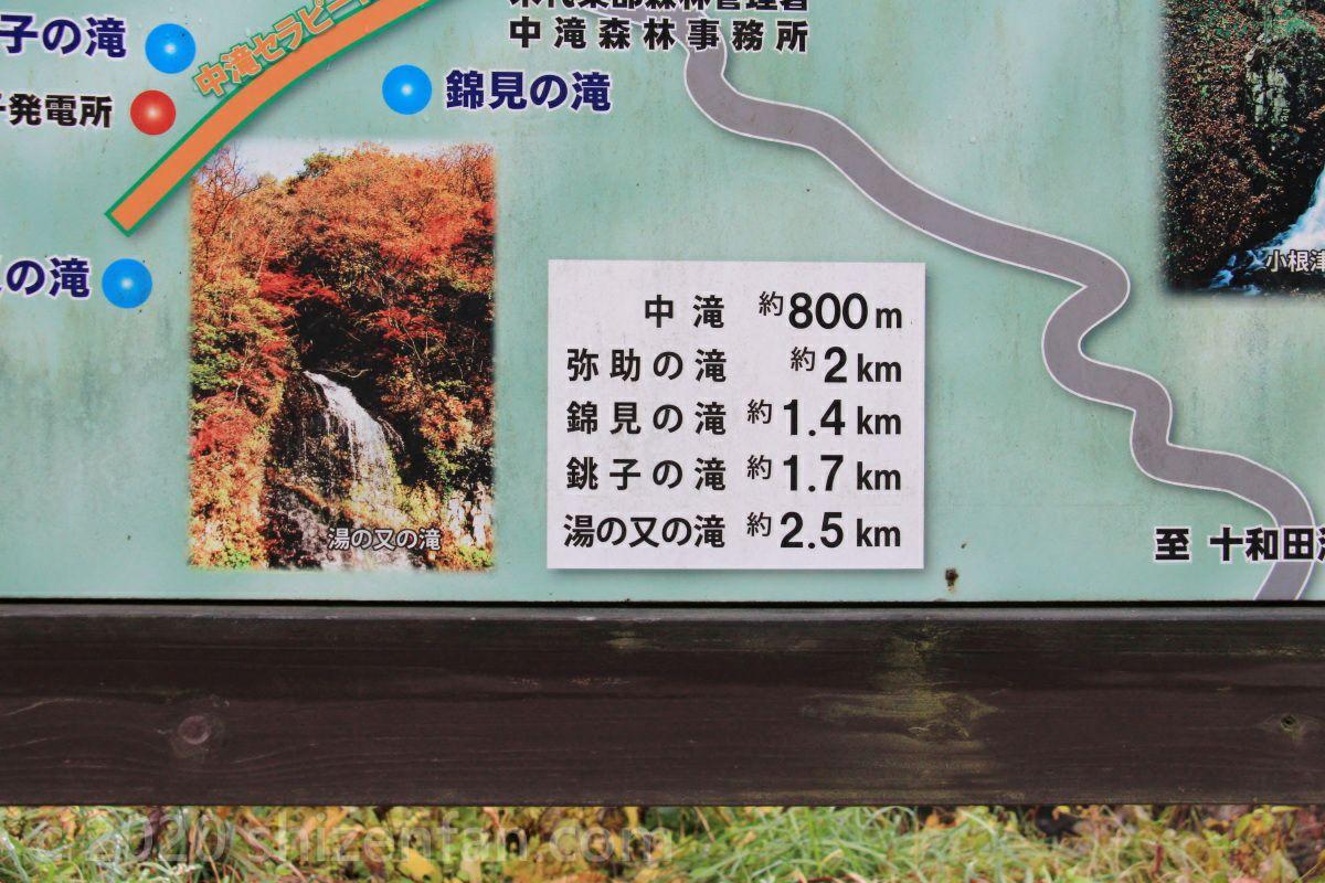 鹿角市大湯・止滝から5つの滝への距離